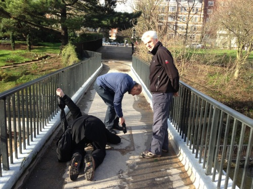 This footbridge carries the aqueduct of the river across Regent's Canal and into Regent's Park. I though Ray might be facing Mecca but all he was doing was listening for the sound of water. Or was that laughter?